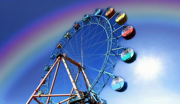 Rainbow over the Ferris wheel of Noboribetsu Marine Park Nixe