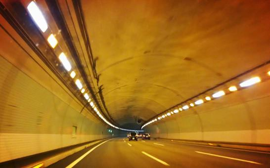 Tunnel and curve road