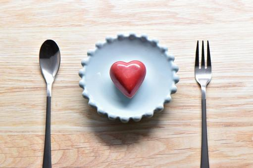 Heart chocolate and cutlery