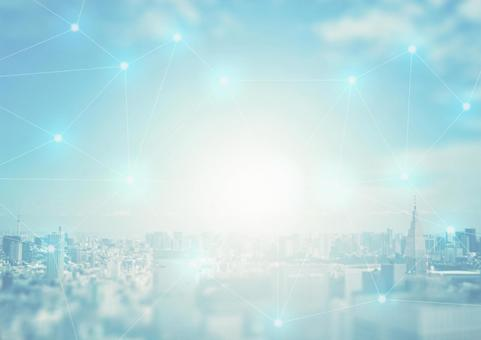 Light-colored cityscape and network