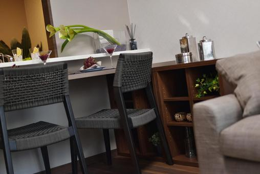 Modern interior LDK with counter table