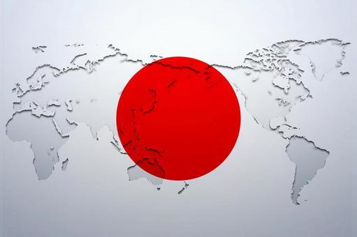 World map and Hinomaru