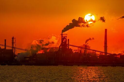 Kawasaki industrial area silhouette and dusk