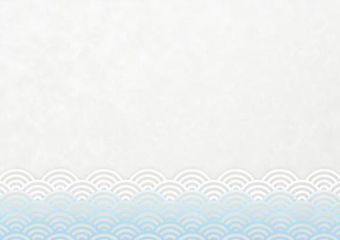 Japanese style background material Qinghai wave blue and white horizontal 03