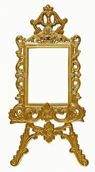Antique gold color frame & easel 2 (with clipping pass)