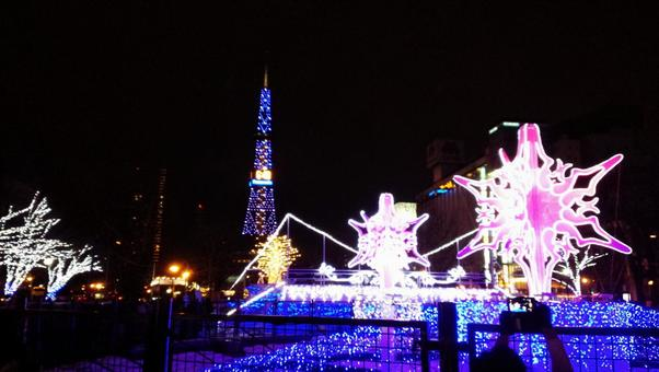 Hokkaido Sapporo shi winter festival white illumination