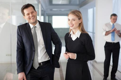 Business team to stand up and talk 7