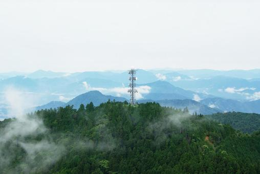 Communication tower at the summit