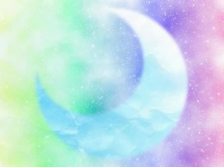 아름다운 배경 소재 프레임 종이 초승달 밝은 파스텔 단순 귀여운