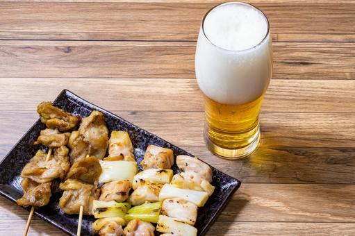 Yakitori and beer