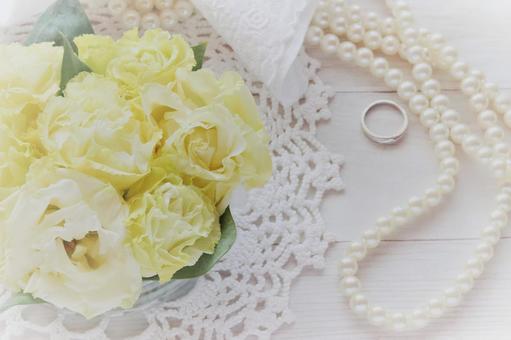 婚禮形像素材結婚新娘婚禮花珍珠戒指