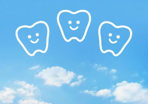 Tooth illustration sky background