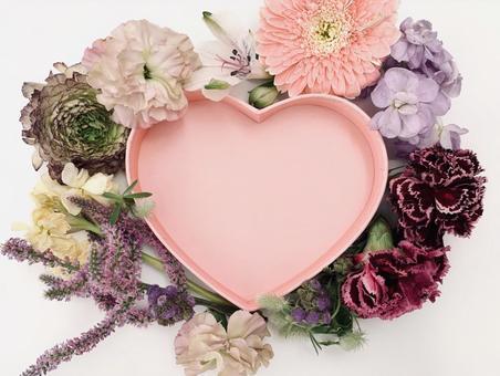 Spring flower and heart frame