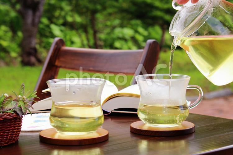 庭でお茶をの写真