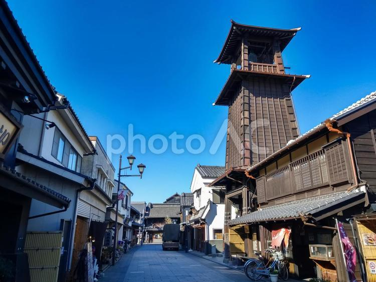 川越 町並み 時の鐘の写真