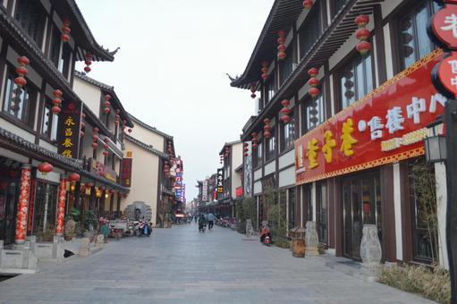중국 산둥성 더 저우 푸드 스트리트