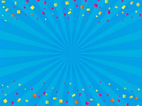 Blue concentration line and confetti