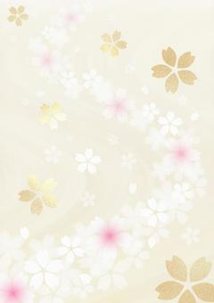 Gold leaf cherry blossoms and running water pattern style background Japanese style material (beige) vertical type