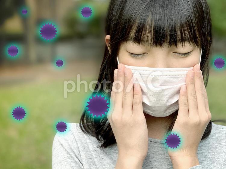 マスクでウイルス予防_PSDレイヤーでウイルス別パーツの写真