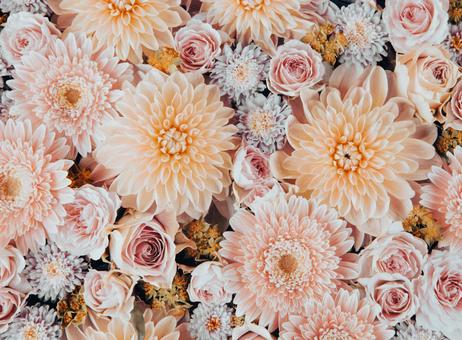 Dahlia, gerbera and rose flower arrangements in retro shades