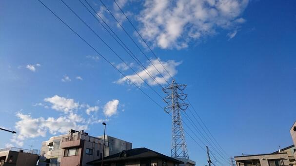 A transmission line on a sunny day