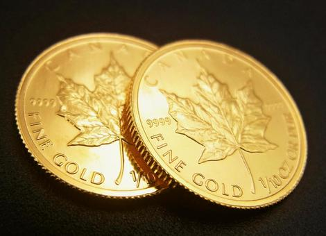 [Gold coins] 2 Canadian maple leaf coins B