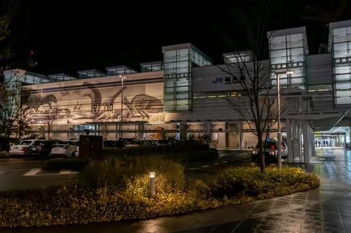 【후쿠이 현 후쿠이시] JR 후쿠이 역 서쪽 출구 야간 촬영 전경