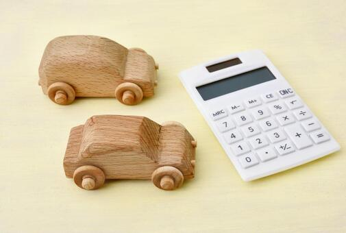 Wooden car and calculator