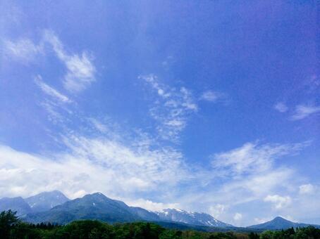 Mt. Myoko and Spring Sky