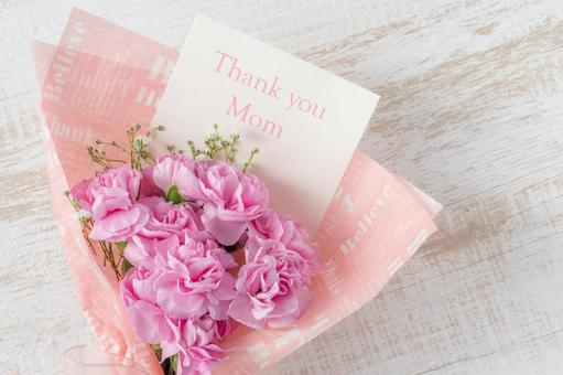 Mother's day pink carnation bouquet and cards