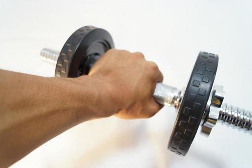 Dumbbells and hands