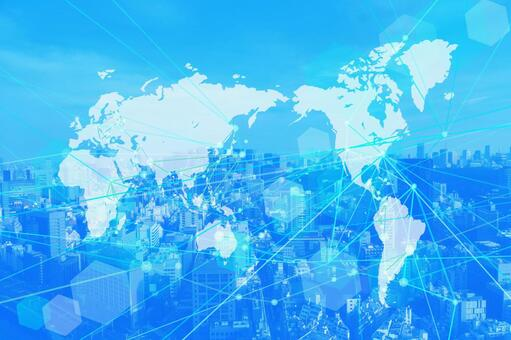 Global network technology cityscape blue background material