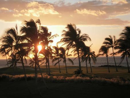 夏威夷島日落