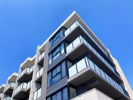 Blue sky and landscape of apartment Stock Photos _af_13
