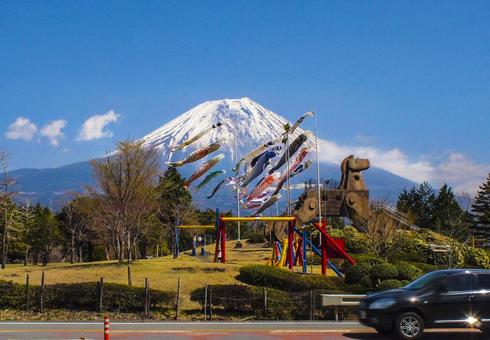 Carp streamer and Mt. Fuji