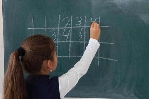 小学学生在黑板上写18