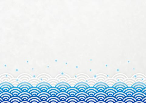 Japanese style background material Qinghai wave and polka dot blue and white horizontal 02