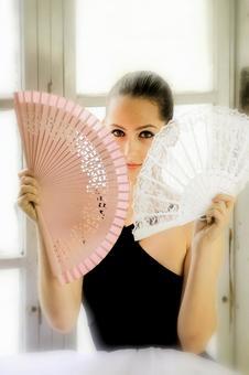 Women with folding fan 12