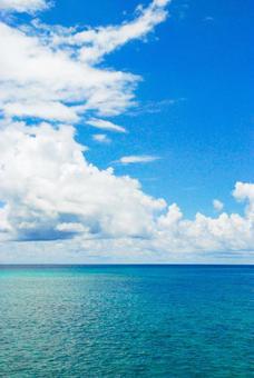 The sea and sky of Miyakojima, Okinawa in the everlasting summer