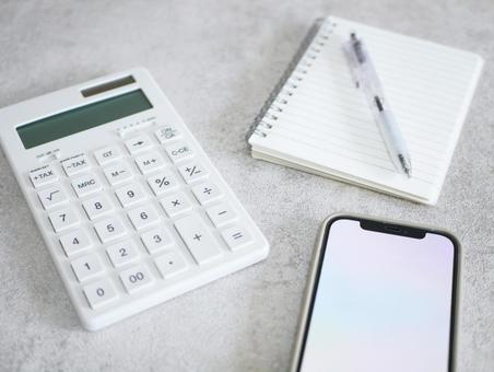 Calculator, notepad and smartphone