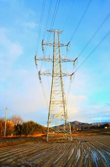 A tower of a transmission line standing in a rice field