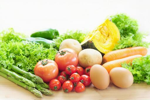 Various vegetables and eggs