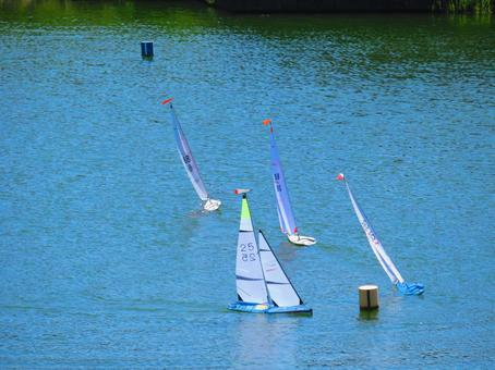 Radio-controlled yacht race in Hasuike in late August