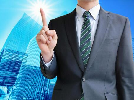 Man pointing to business point-business city background
