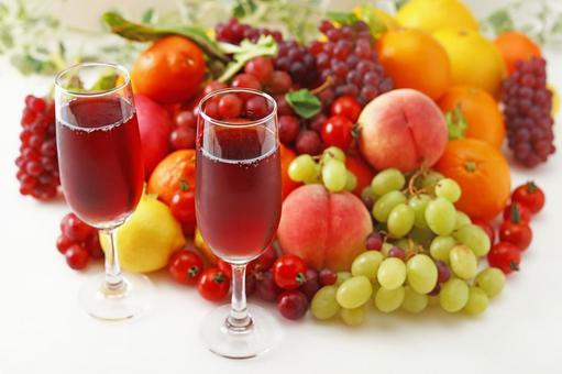 Fresh fruit and wine