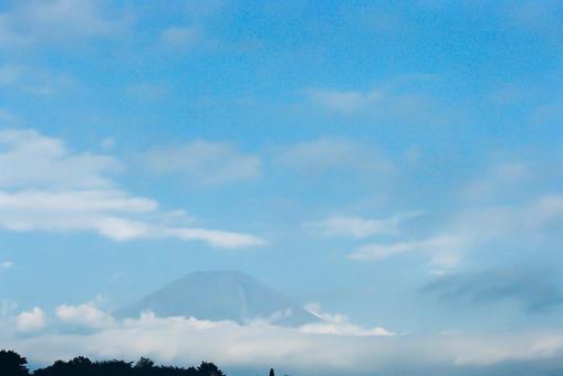 Mt. Fuji seen from the Asagiri plateau campsite