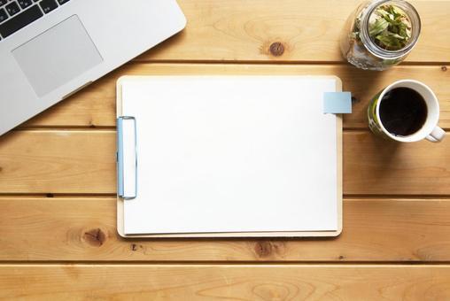 Pc desk blank paper writing notebook idea