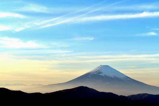 Sky at dusk and Mt. Fuji