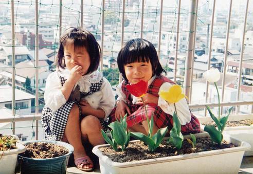 陽台上的老電影照片鬱金香和兩姐妹