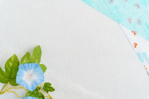 Summer background of Japanese paper of morning glory and goldfish